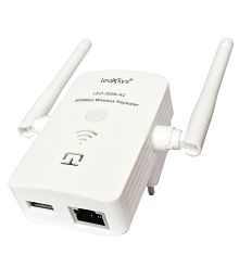 Leoxsys LEO-300N-R2 300mbps Wireless Repeater Router Range Extender With 3dBi External Antenna - White