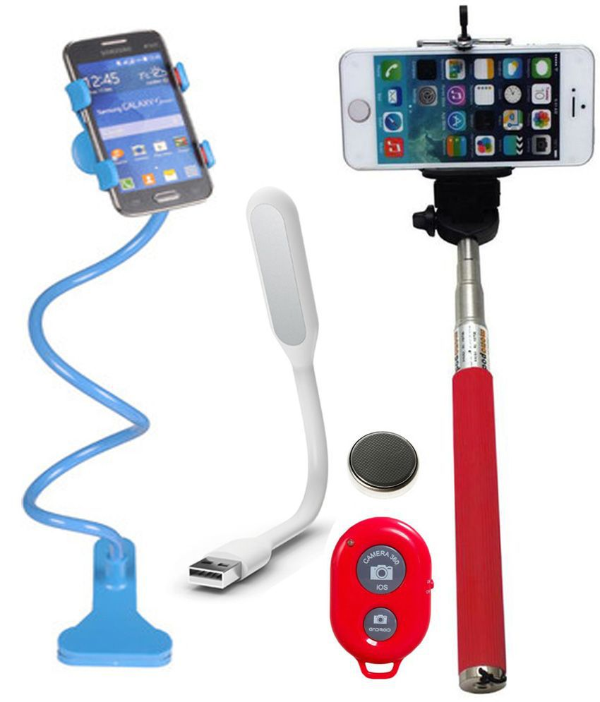 Iceberg Makers.In ICEBERG MAKERS Combo of Universal Mobile Holder Stand ,Selfie Stick & USB LED Light for Apple iPhone & Xiaomi series Mobile Phones