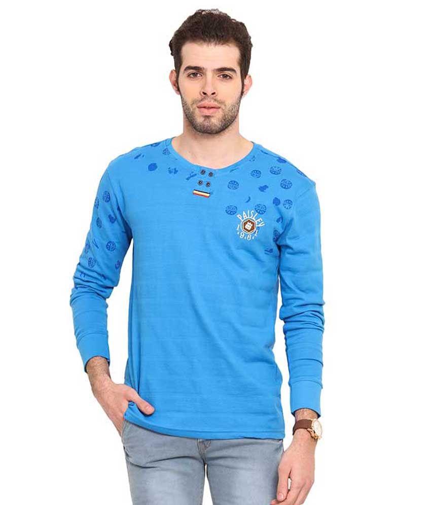 Mode Vetements Blue Round T Shirts