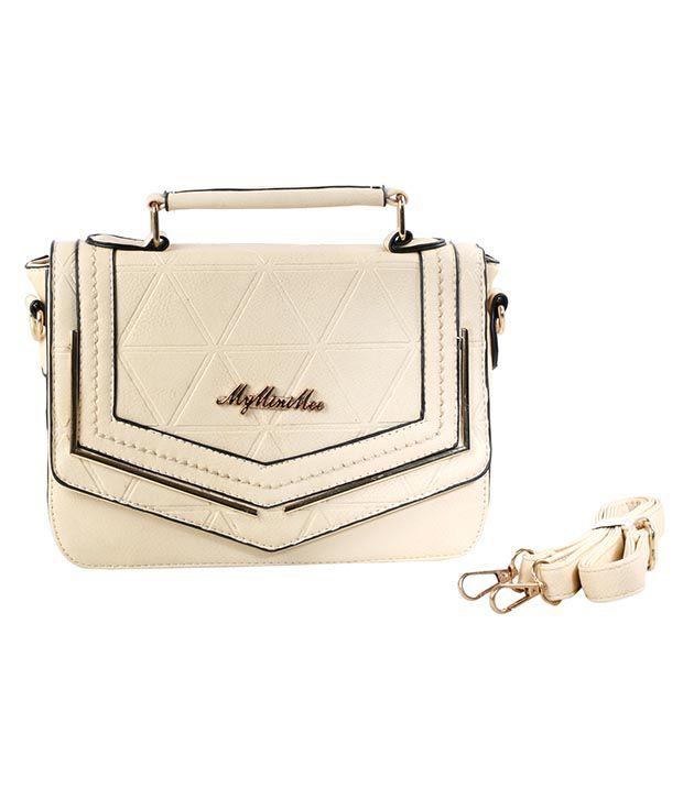 My Mini Mee Beige P.U. Satchel Bag