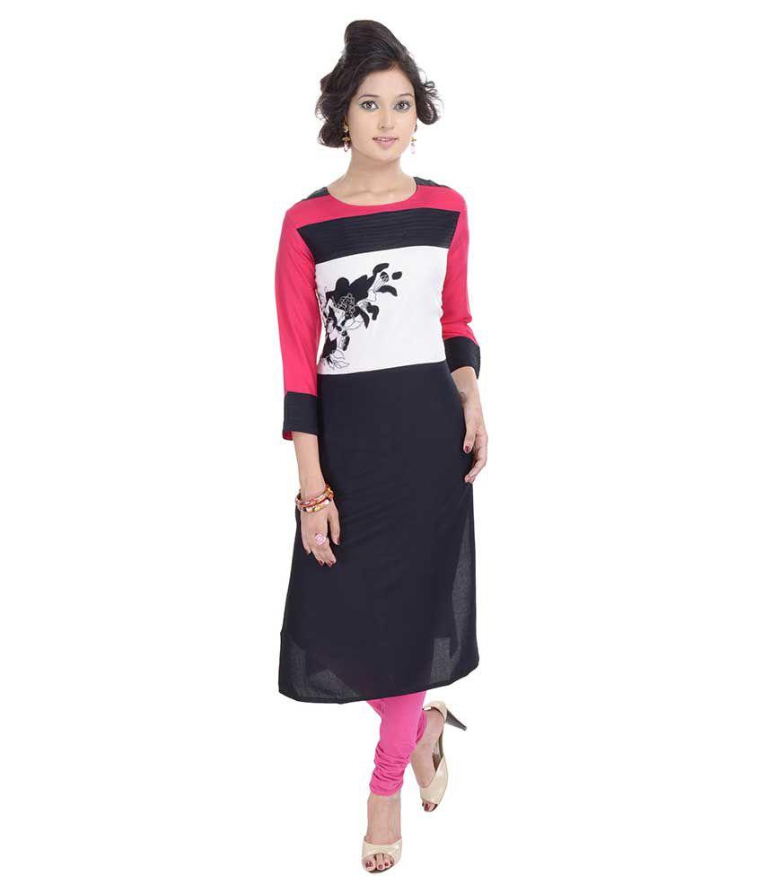 Shop Rajasthan Black Straight Cotton Kurti