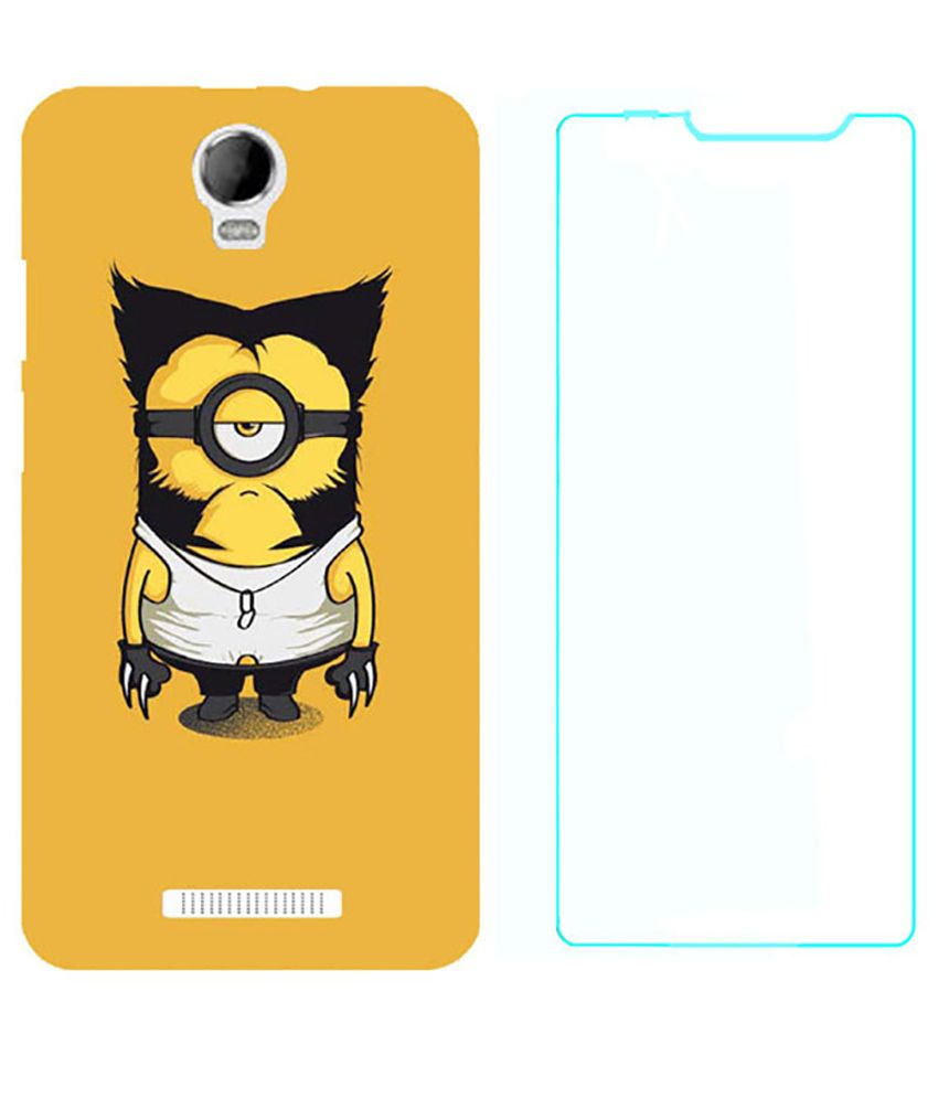Treecase Back Cover for Micromax Canvas Juice 2 - Multicolour with Tempered Glass Screen Guard