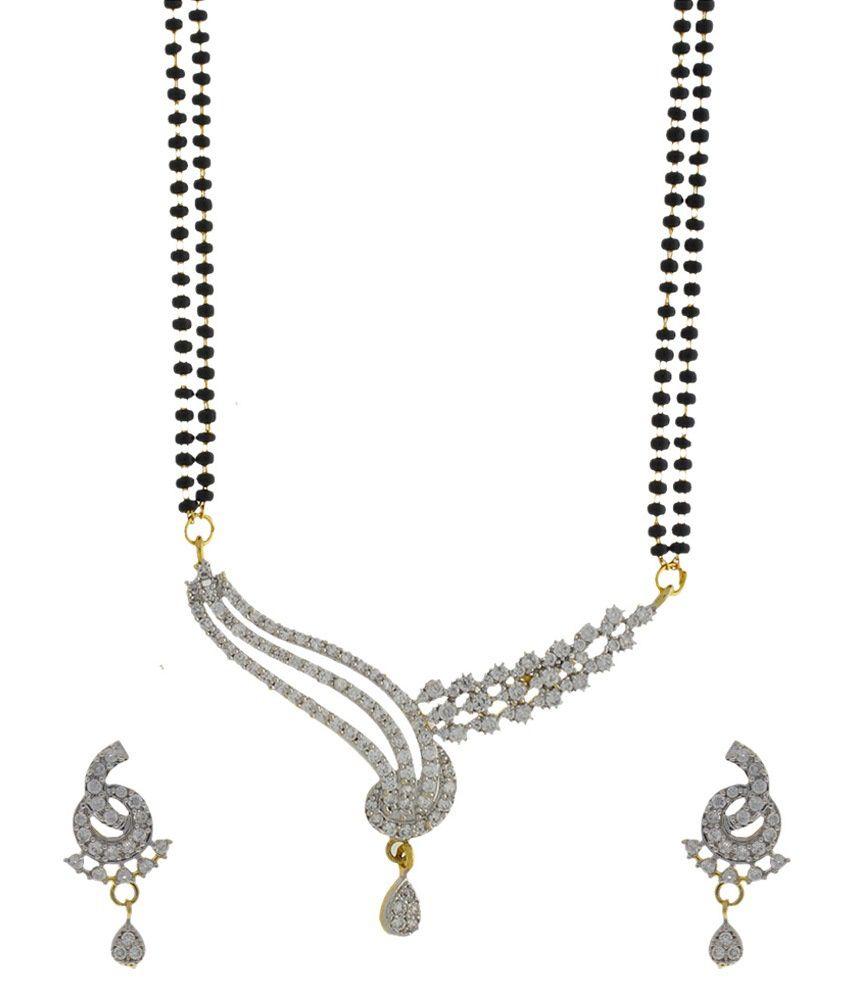 Anuradha Art Silver Copper Mangalsutra Set