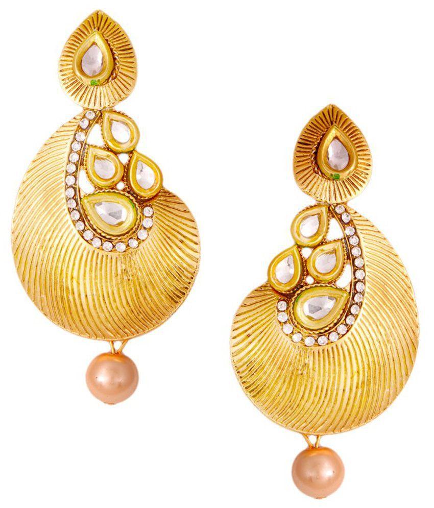 JNB Jewellers Golden Alloy Hanging Earrings