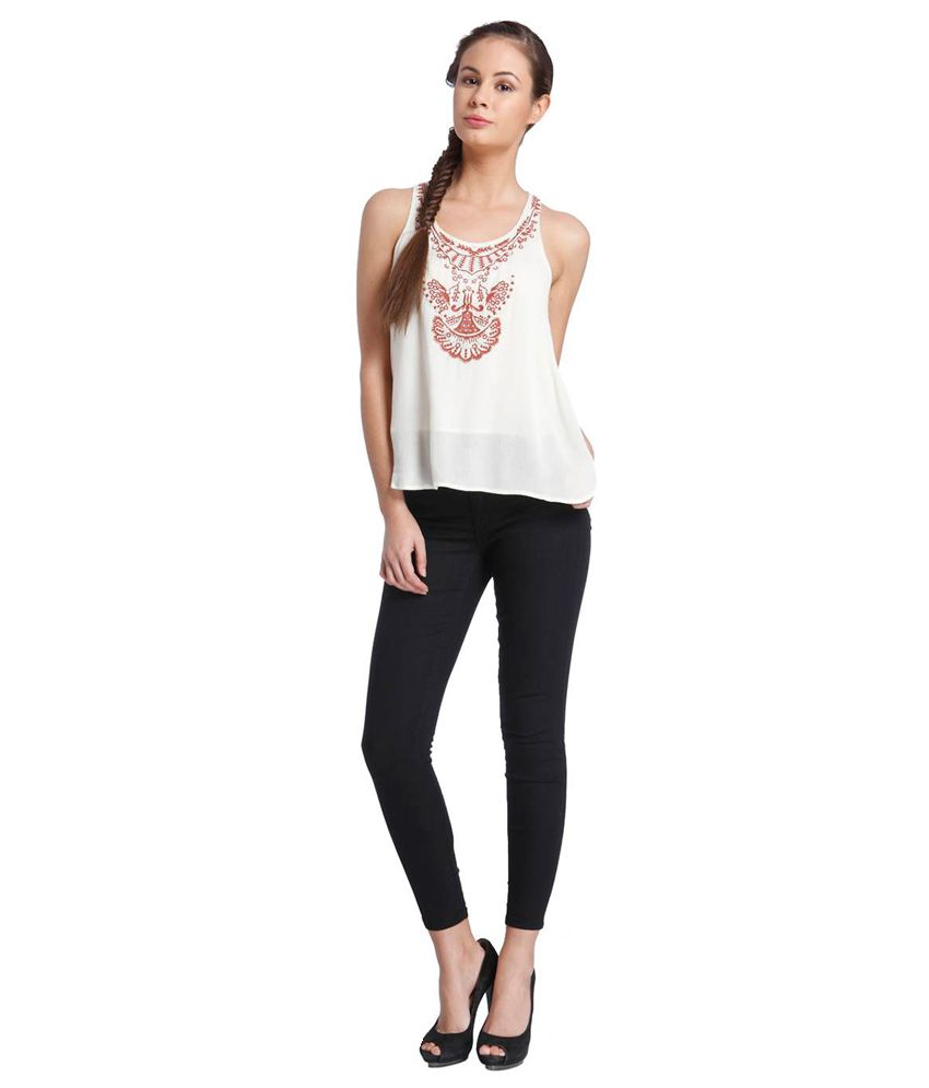eedce134976 Only White Sleeveless Top - Buy Only White Sleeveless Top Online at ...