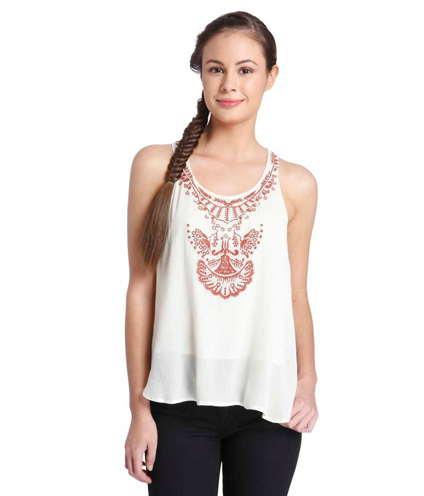c1a052ef98 Only White Sleeveless Top - Buy Only White Sleeveless Top Online at Best  Prices in India on Snapdeal