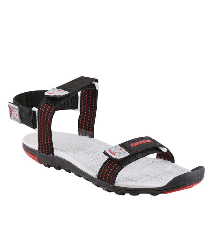13c6cddf2533d Lotto Section Black Red Men Floater Sandals - Buy Lotto Section ...