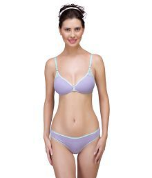 Inner Sense Organic Antimicrobial Laced Soft Bra & Panty Set