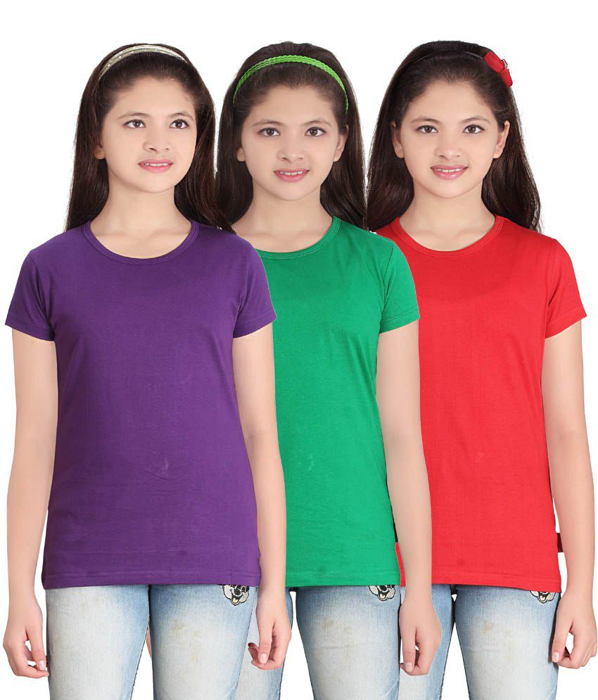 Sini Mini GIRLS SOLID ROUND NECK TSHIRT PACK OF3