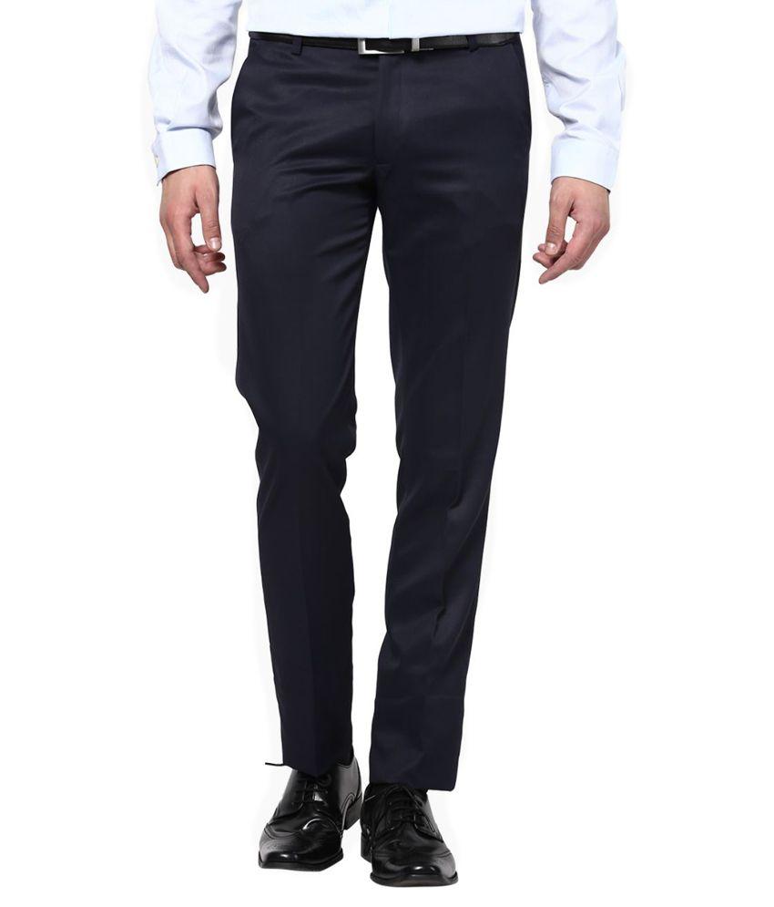 Surfer Black Slim Fit Flat Trousers