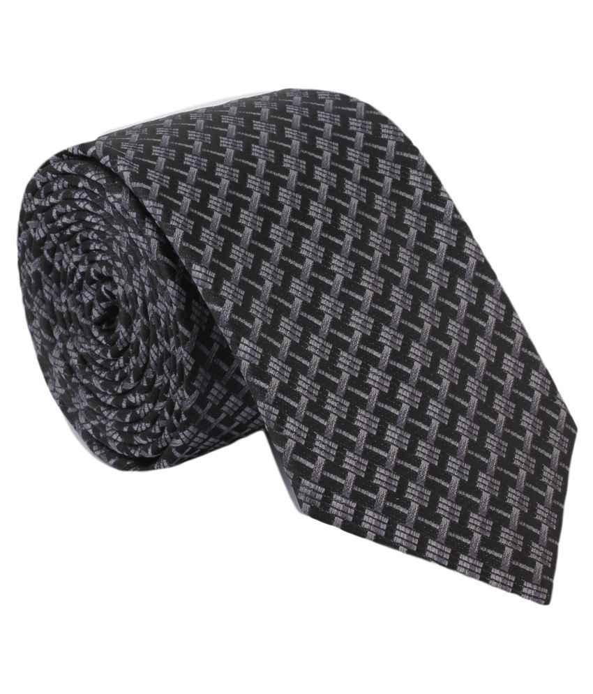 Alvaro Castagnino Black & Grey Narrow Tie For Men