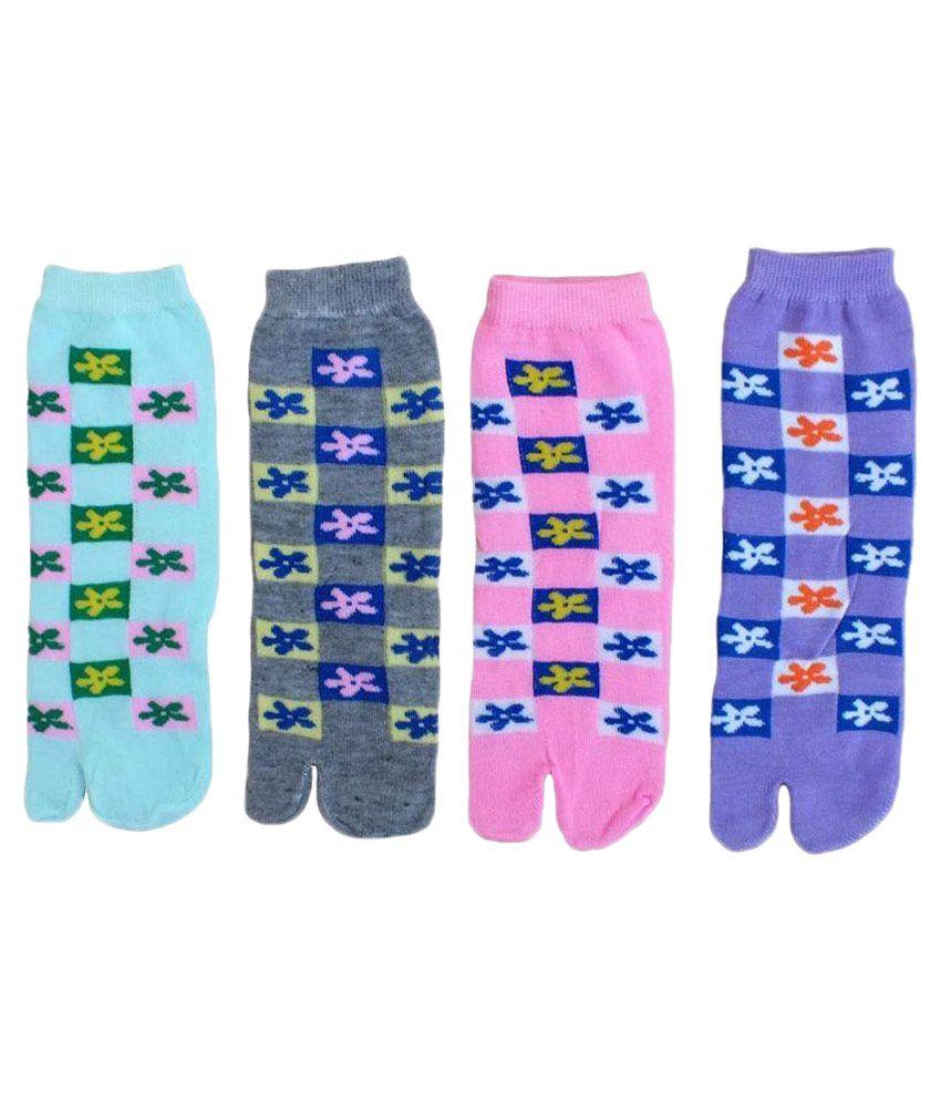 Gayatri Creations Multicolour Cotton Ankle Length Socks - Pack of 4