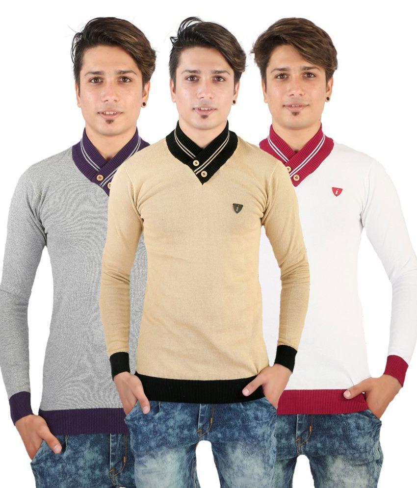 Hi Fi Deal Multi V-Neck T Shirts Pack Of 3
