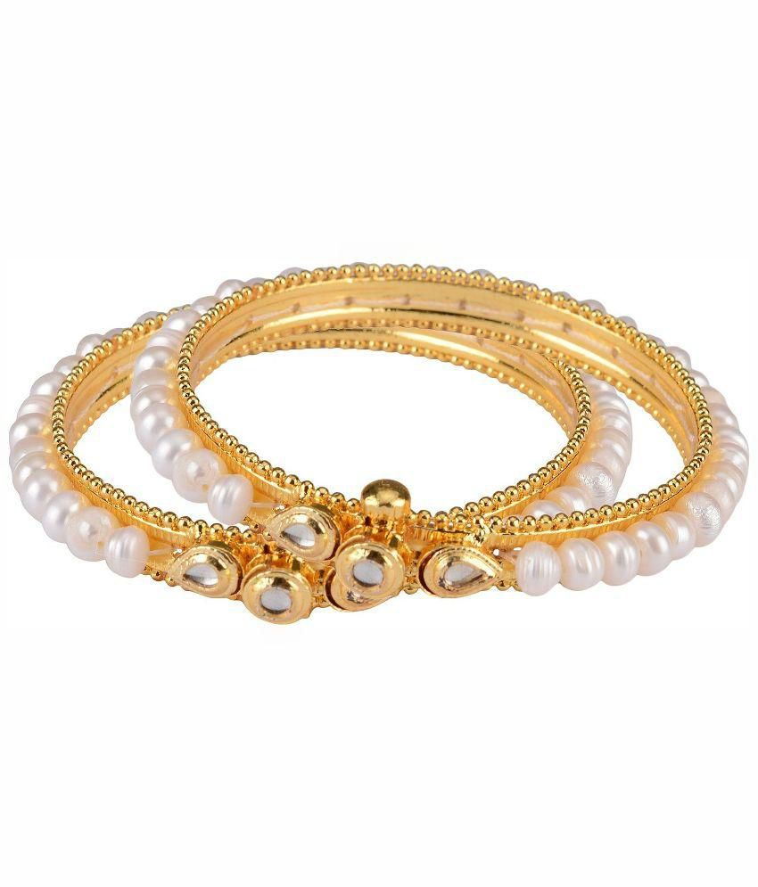 Mital White and Golden Pair Of Bangles