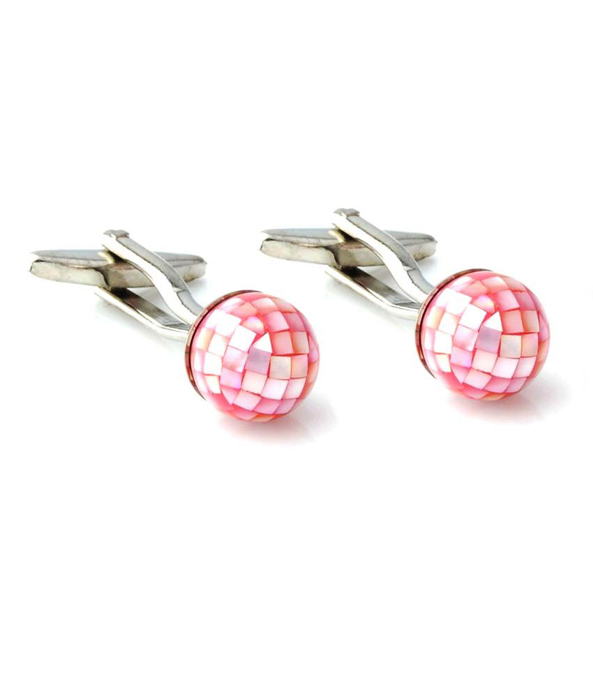 Peluche Pink Metal Mother Of Pearls Stone Cufflinks For Men