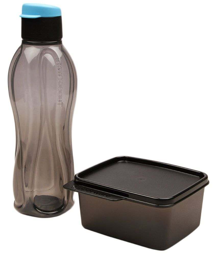 Tupperware Set of Black Extreme Lunch Box & Bottle