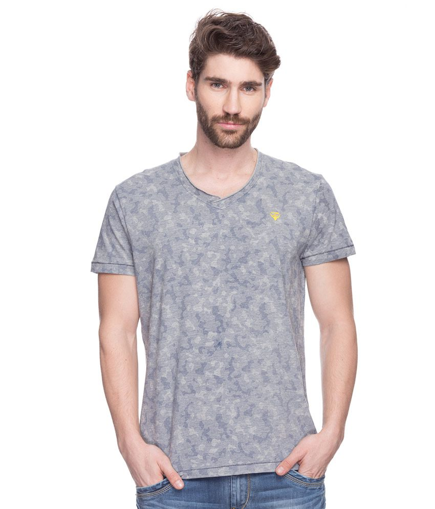Spykar Grey Printed T-Shirt