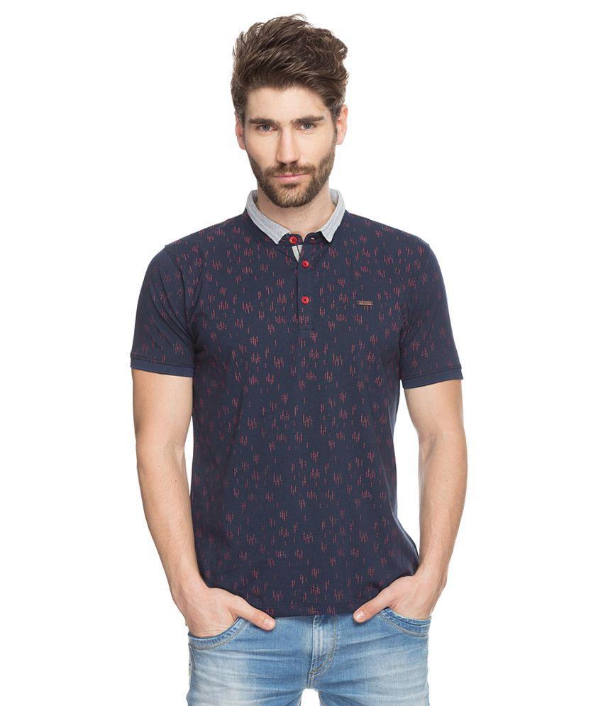 Spykar navy printed polo t shirt buy spykar navy printed for Polo t shirt printing