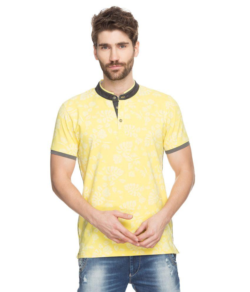 Spykar Yellow Printed Mandarin Collar T-Shirt