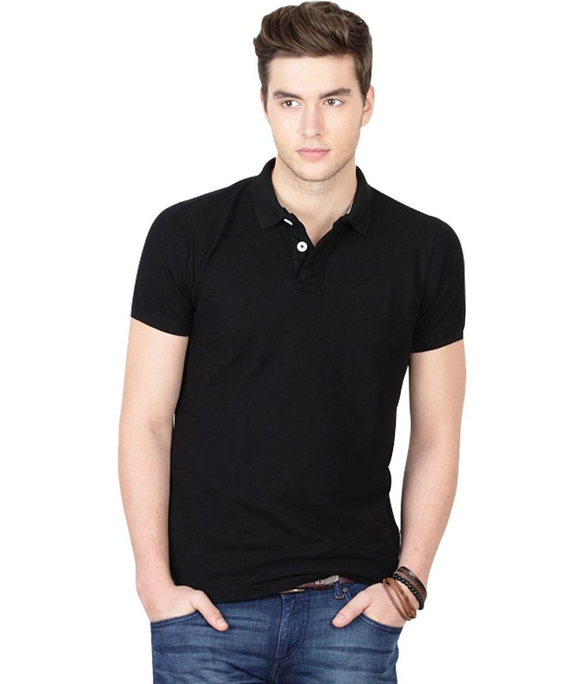 Haltung Black Half Sleeves Solid Polo T-Shirt, Wallet, Belt, Watch ...
