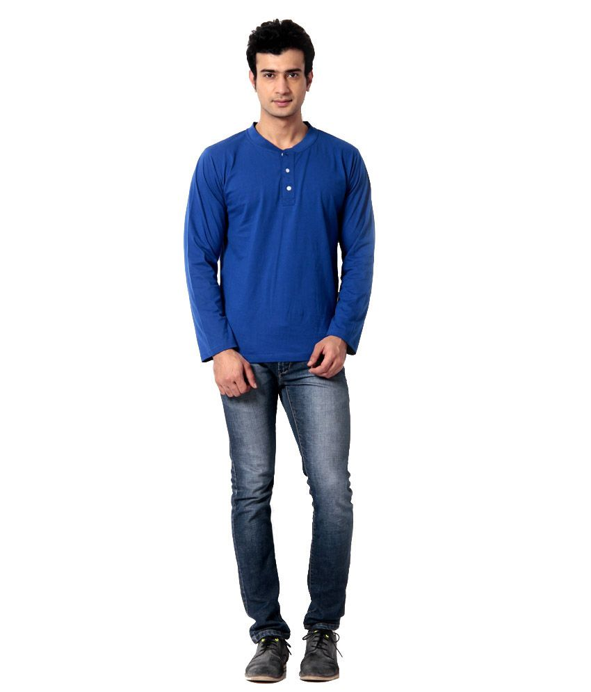 Leana Blue Cotton T-Shirt