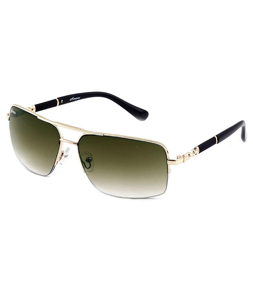 Amaze Green Rectangle Sunglasses For Unisex