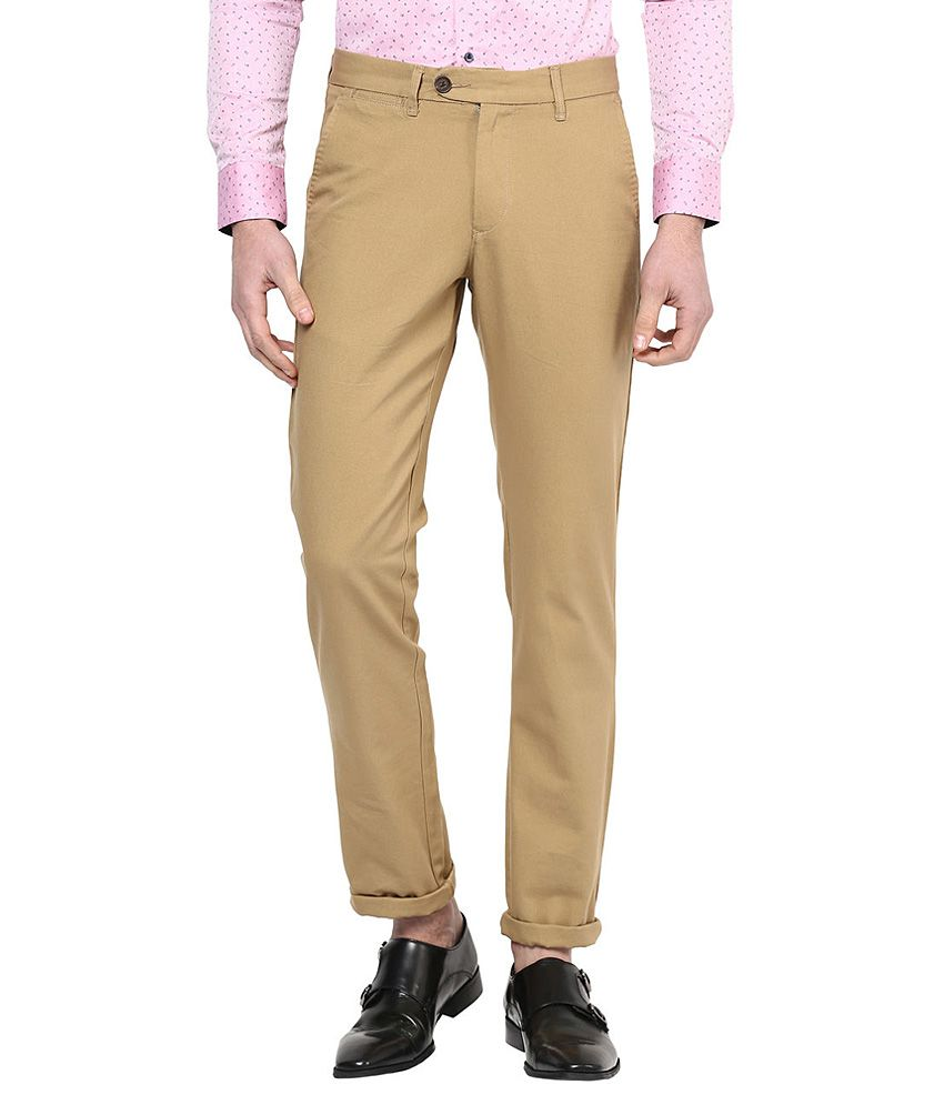 Byford By Pantaloons Khaki Slim Fit Trousers