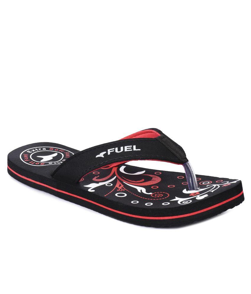 Fuel Black Slippers & Flip Flops