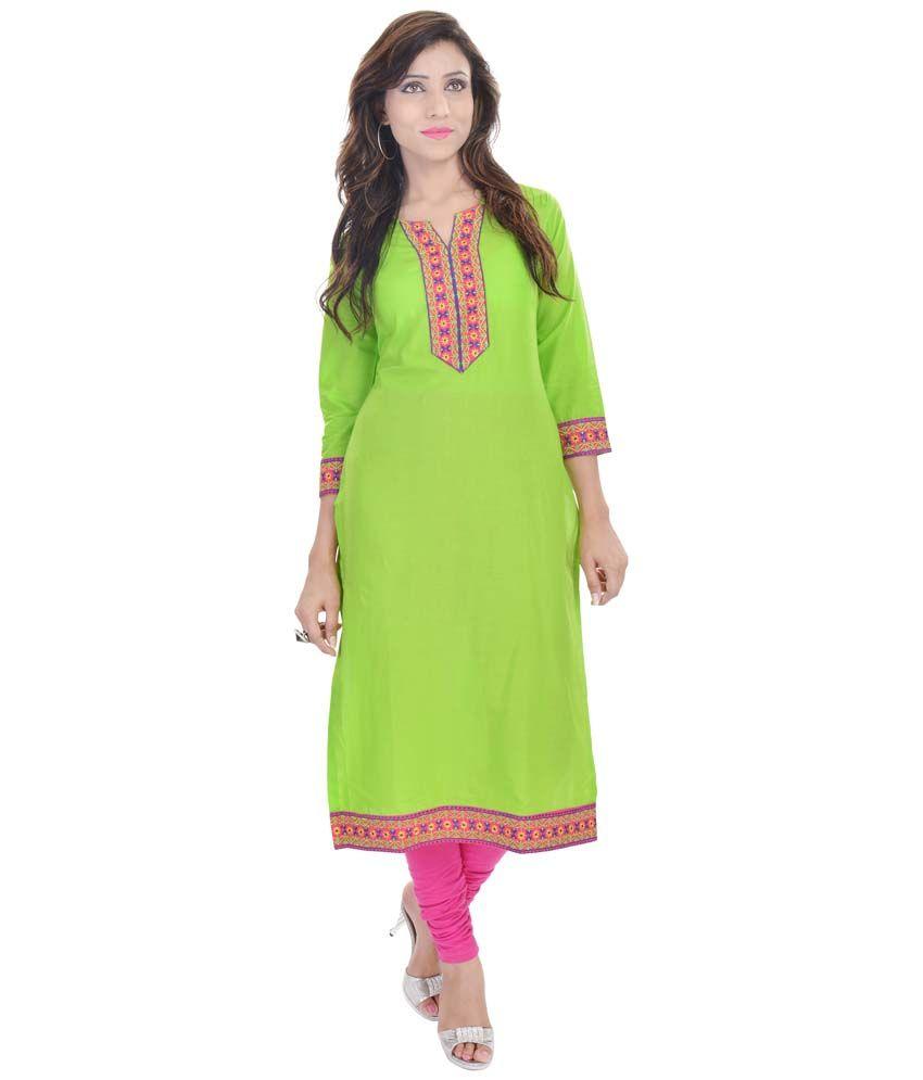 Nikks Fashions Green Straight Cotton Kurti