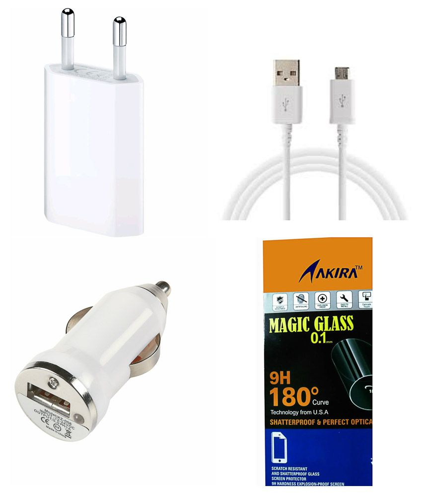 Data Cable and Power Adapter Tempered Glass Screen Guard by AKIRA