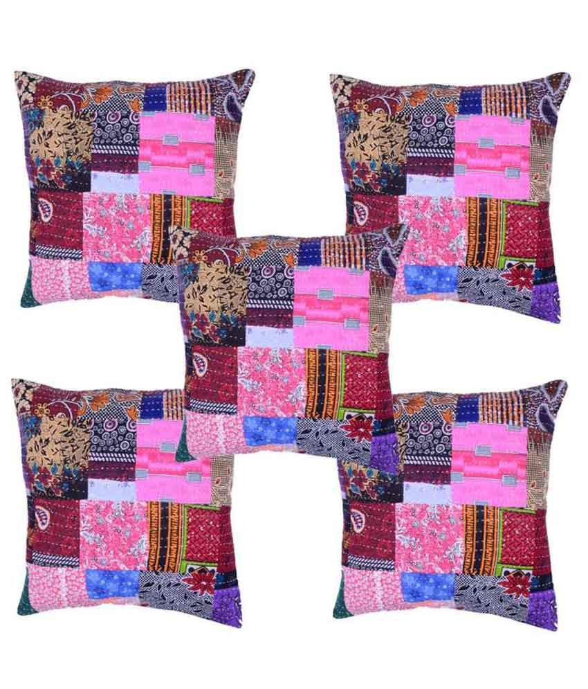 Jaipuri Cushion Multi Abstract patch work Cotton Cushion Cover Set Of 5