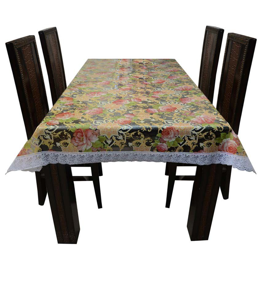 decor club dining table cover transparent printed 6 seater