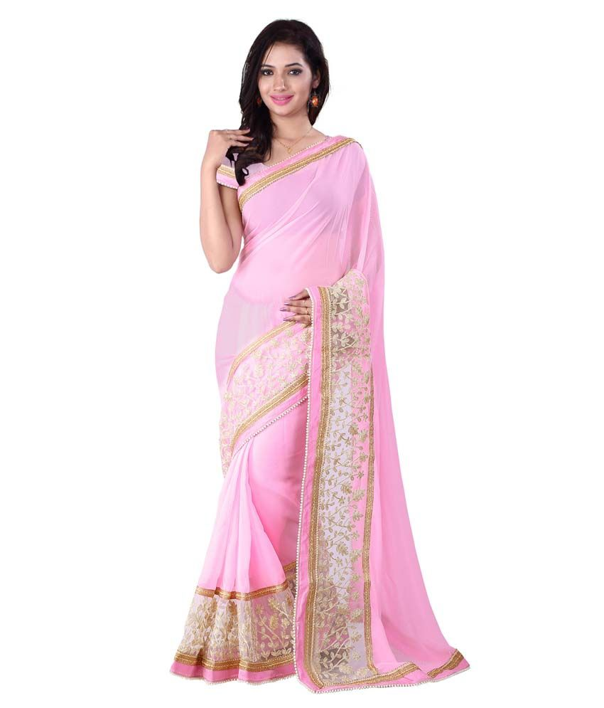 Fabzones Pink Faux Georgette Saree