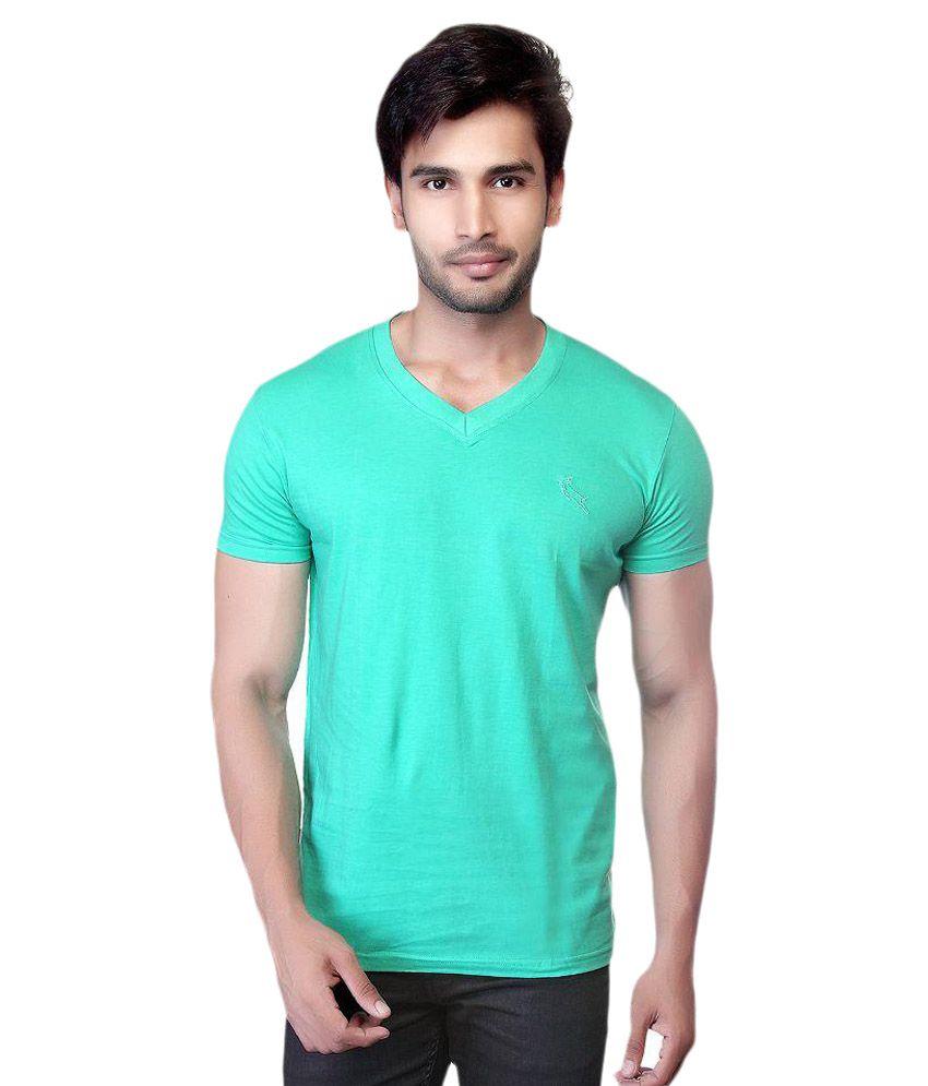 LUCfashion Green V-Neck T Shirts