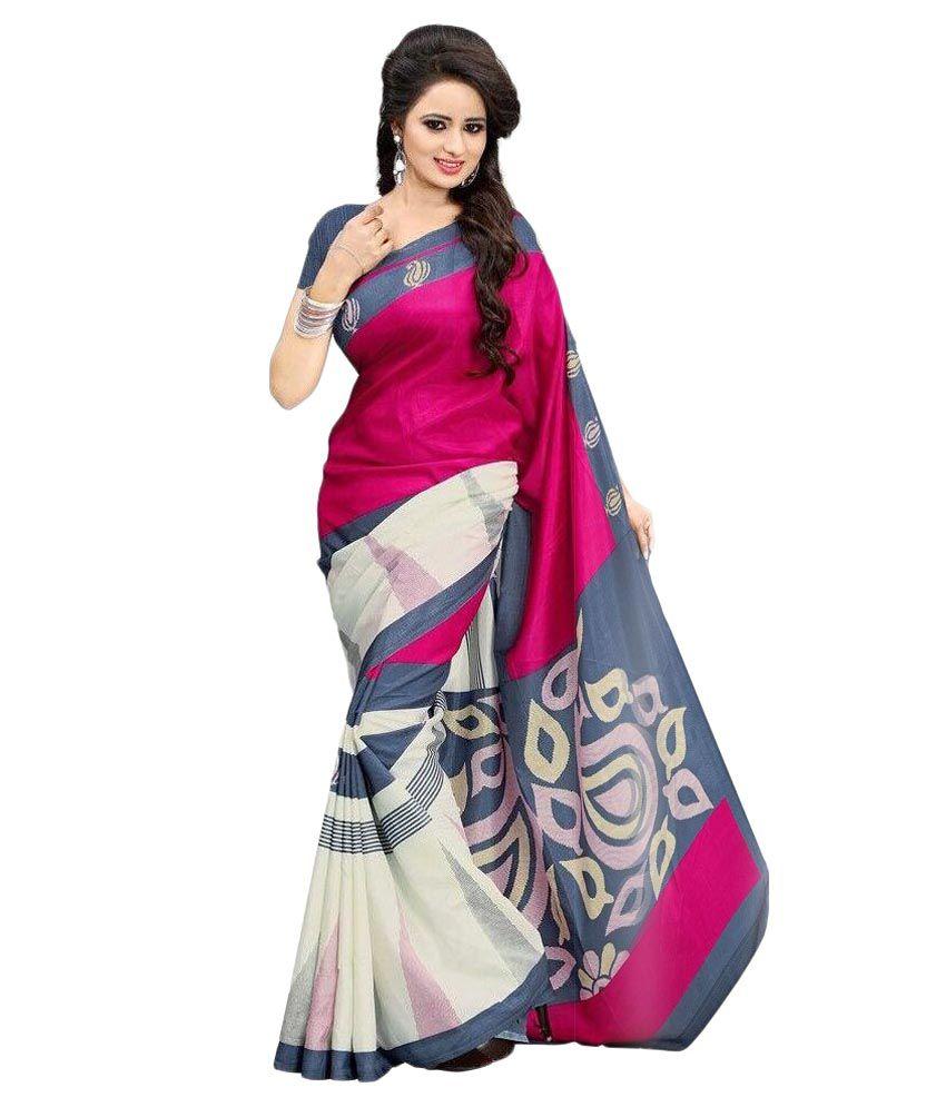 Womanvelly Fancy Designer Sarees Pink Cotton Saree Buy