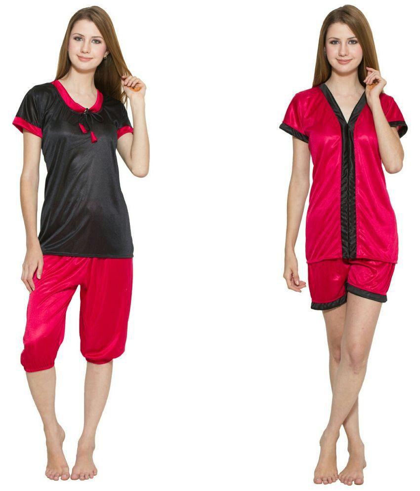 Kismat Fashion Red Satin Nightsuit Sets Pack of 2