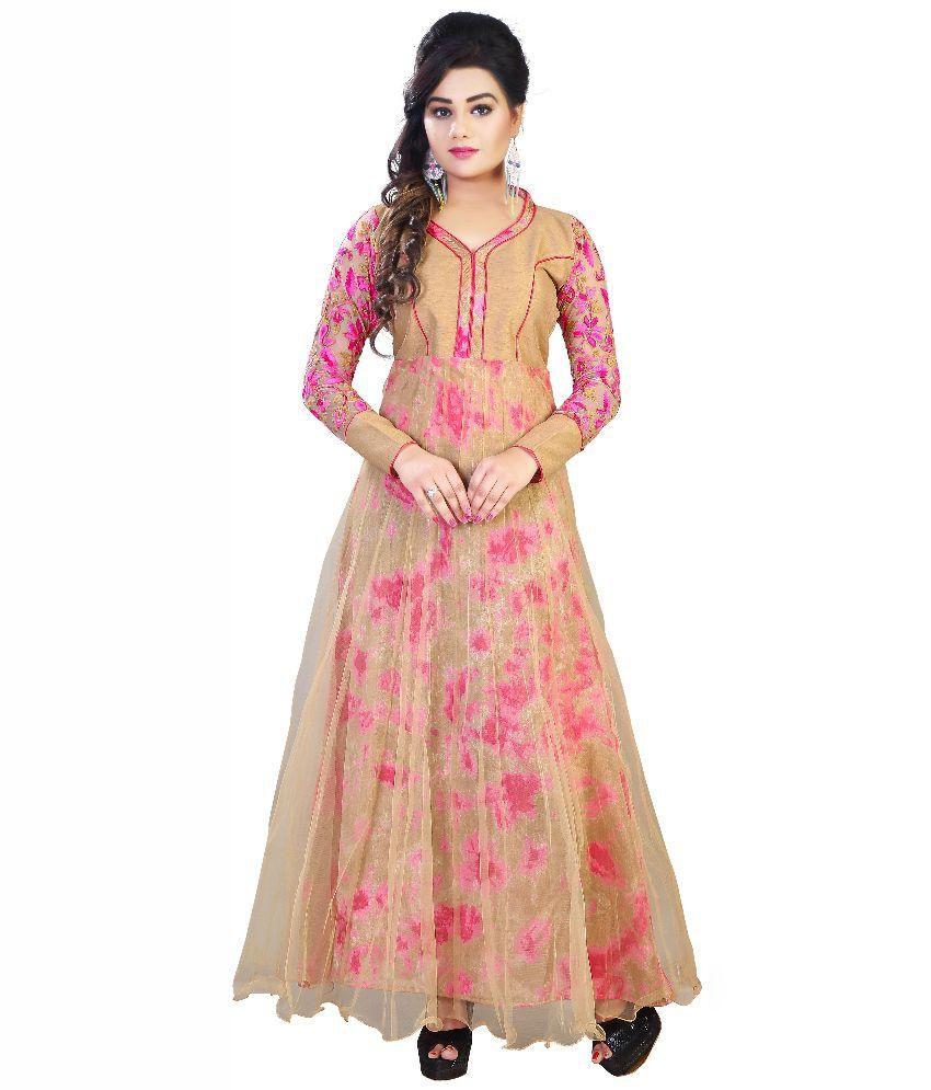 Shreeji designer beige bhagalpuri silk dress material for Wedding dress material online