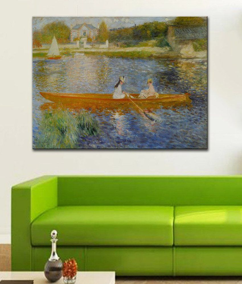 Tallenge Boating on the Seine By PierreAuguste Renoir Rolled Canvas Art Print