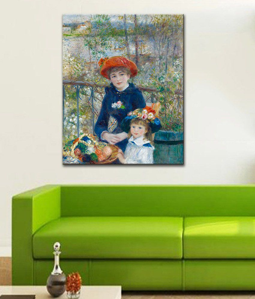 Tallenge Two Sisters, or on the Terrace By PierreAuguste Renoir Gallery Wrap Canvas Art Print