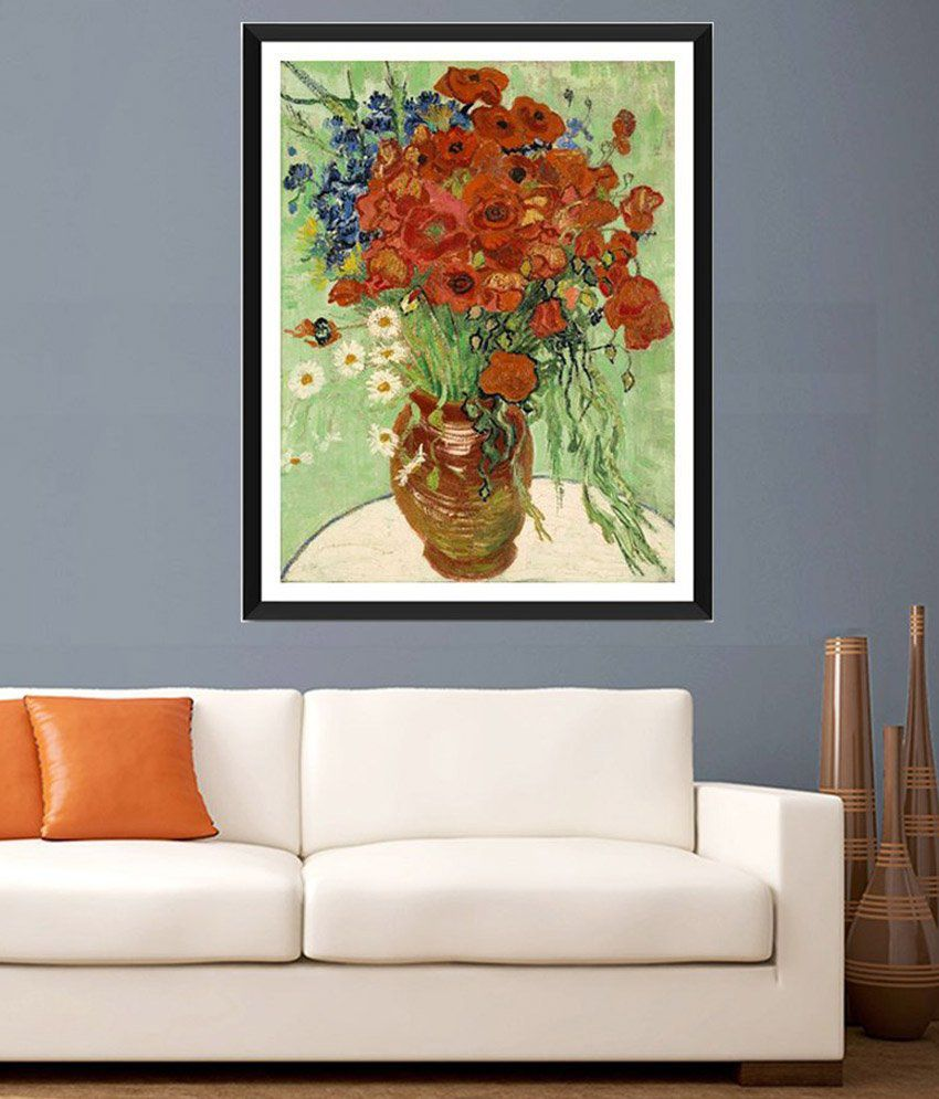 Tallenge Vase With Daisies And Poppies By Vincent Van Gogh Framed Art Print