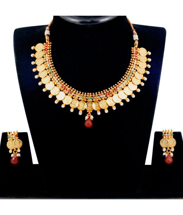 Spargz Traditional Laxmi Coin Necklace Set with AD Stone & Pearl