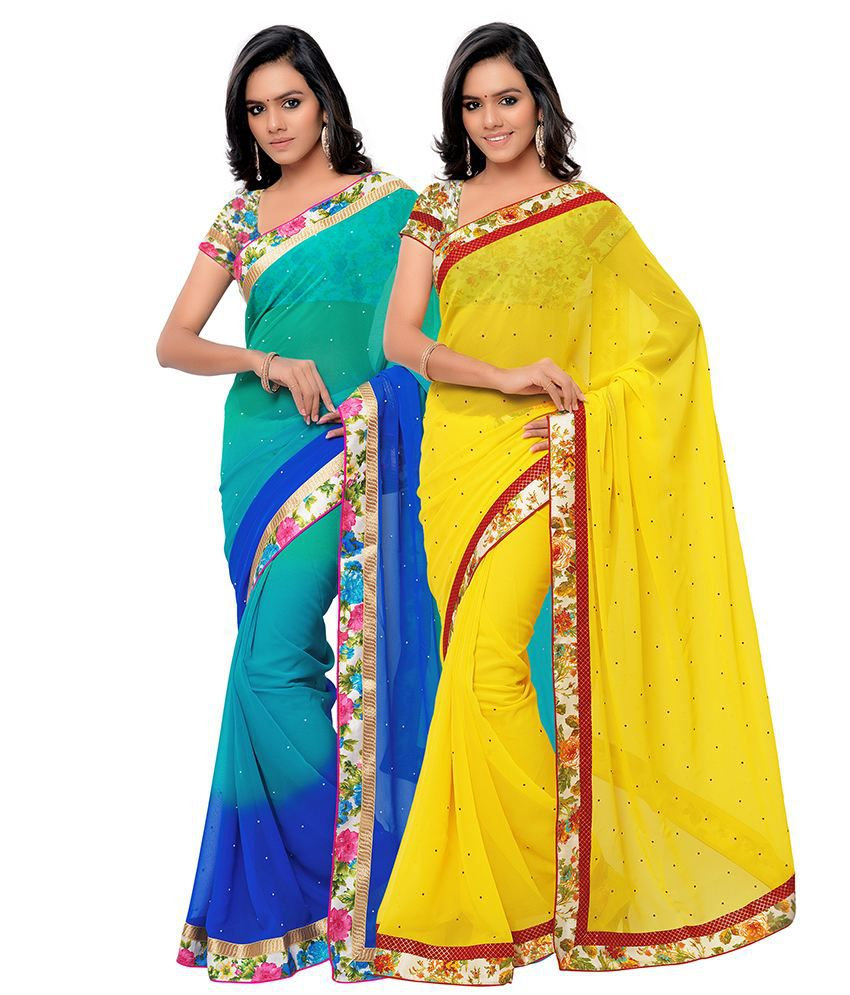 Mannfab Multi Georgette Pack of 2