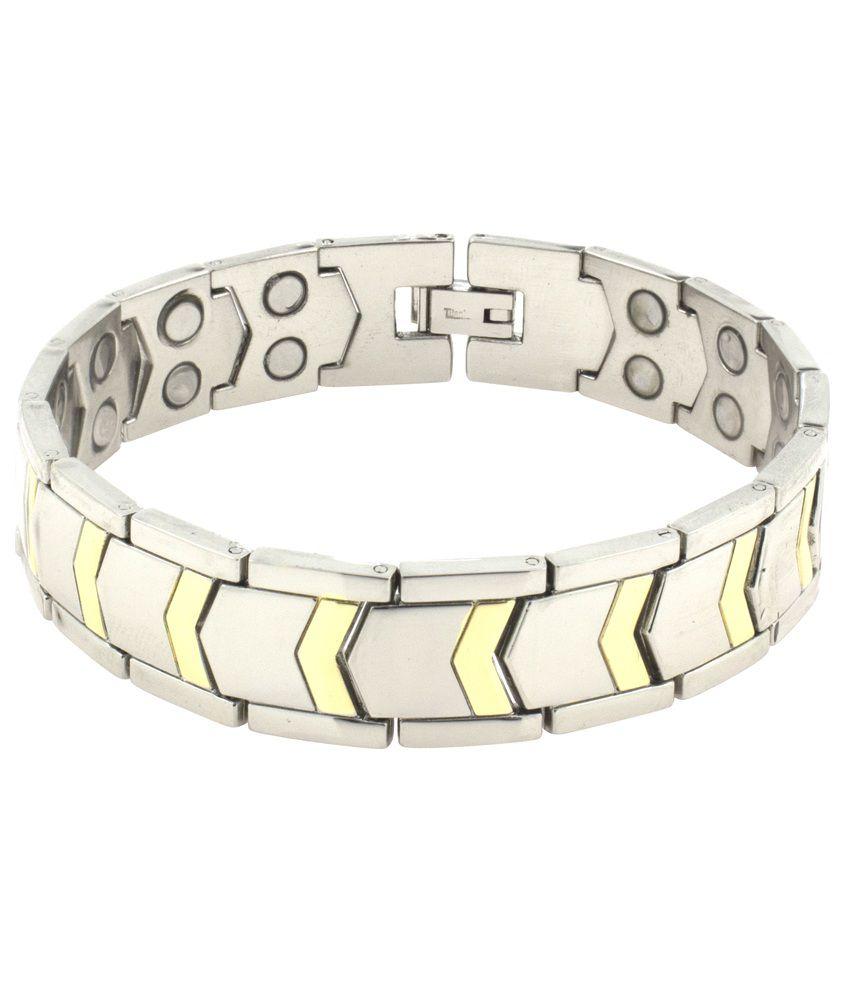 The Jewelbox Silver and Golden Titanium Bracelet