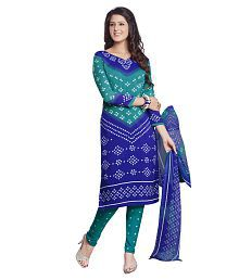 Drapes Blue Crepe Straight Unstitched Dress Material