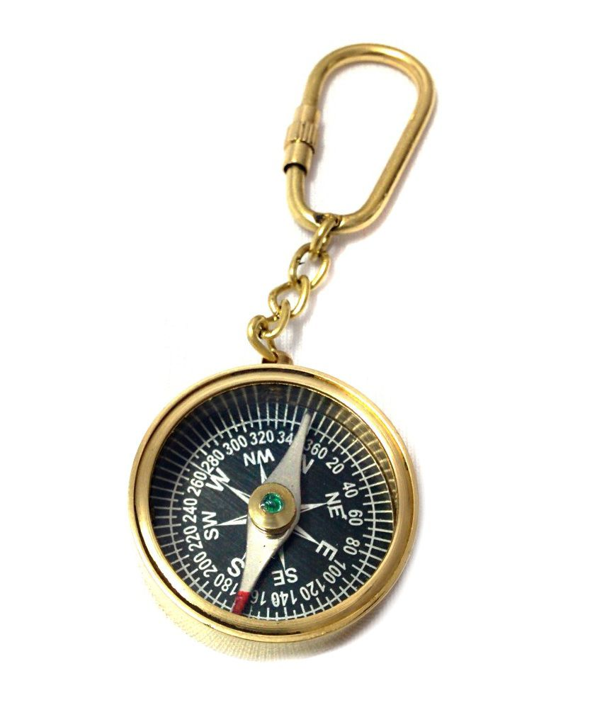 Attic House Creations Brass Magnetic Compass Key Chain Set of 3