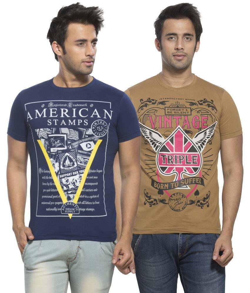 Maniac Navy Round T-Shirt Pack of 2