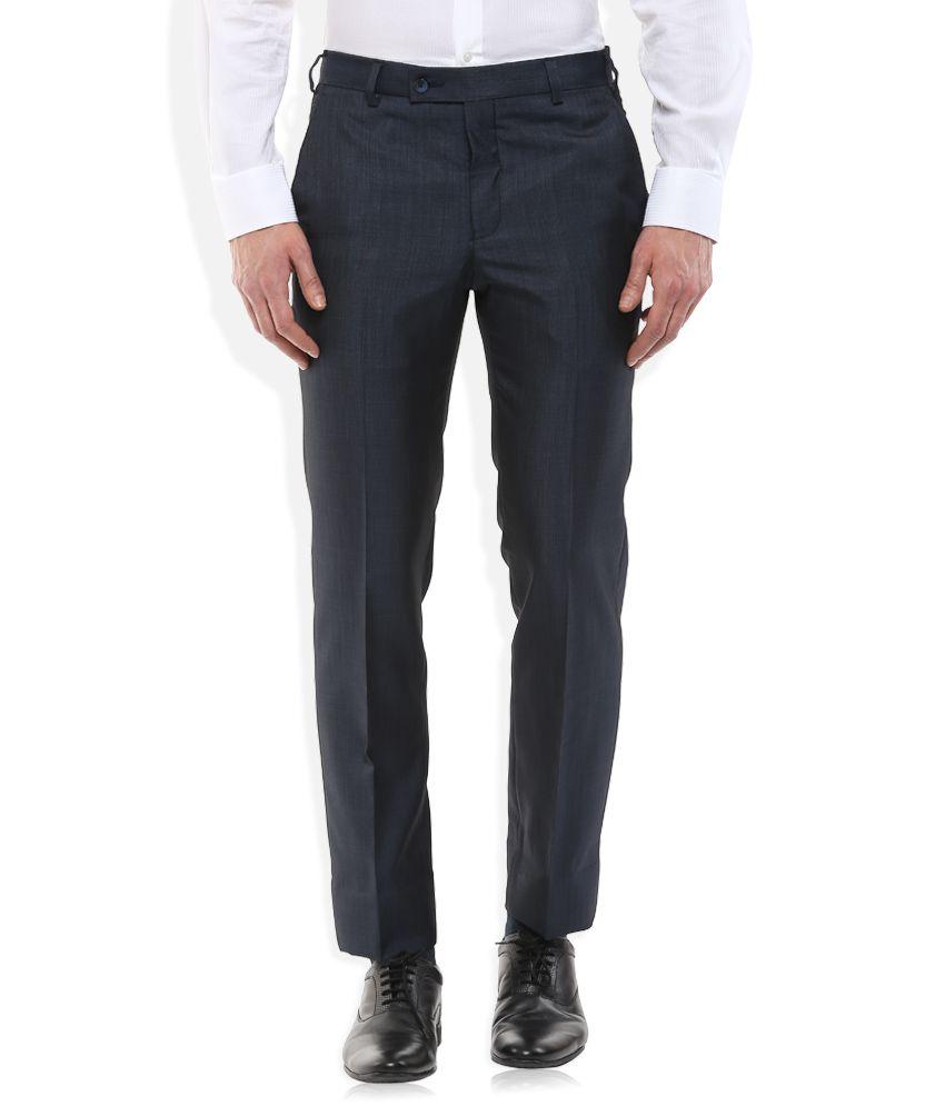 Park Avenue Blue Slim Fit Trousers