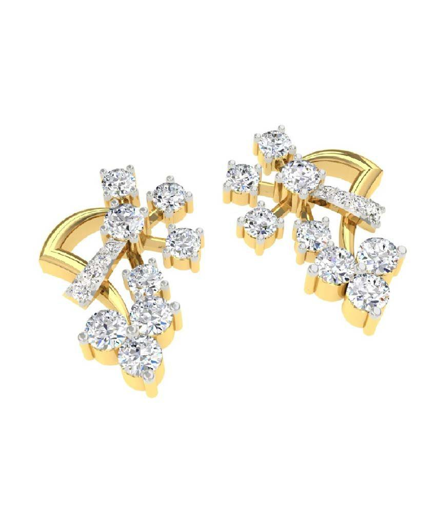 30a93aa54 ... TBZ-The Original 18Kt Yellow Gold Daily Wear Stud Earrings with 0.65cts  Diamonds ...