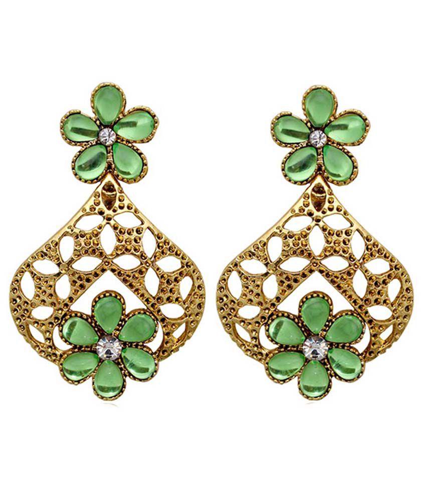 Moshiv Green Alloy Hanging Earrings