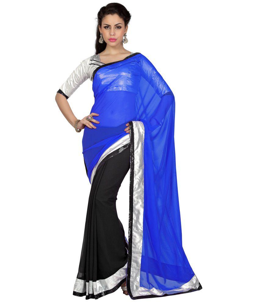 Aaradhya Fashion Blue Georgette Saree